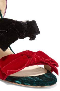 Attico - Diletta Bow-embellished Velvet Sandals - Black - IT40