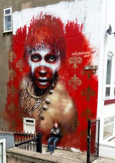 Dale Grimshaw with his work in Blackpool, UK, 7/15