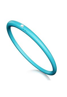 DuePunti Turquoise Silicone Bangle with a .02ct diamond available at osterjewelers.com