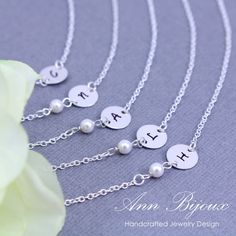Bridesmaid Pearl Necklace, Personalized Initial Necklace, Initial with Pearl Necklace, Set of 3,4,5 Bridesmaid Necklace, HandStamped Initial by ANNBIJOUXNEWYORK on Etsy