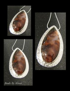 Mexican Flame Agate sterling silver bezel set pendant. Cabochon by Kristine Gniot, silver by Beads by Alison. Gemstones & Cabochons - Beads By Alison