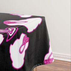 Valentine's Day pink and white bunny tablecloth by SPKCreative Stationery and Gifts features Night the Rabbit with pink hearts.