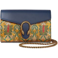 Gucci Dionysus metallic brocade and leather shoulder bag (24.365.675 VND) ❤ liked on Polyvore featuring bags, handbags, shoulder bags, gucci, gold, chain strap shoulder bag, blue purse, leather shoulder bag, blue leather purse and genuine leather handbags