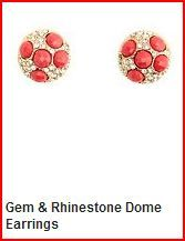 Gem and Rhinestone Dome Earrings $6.00 Charlotte Russe