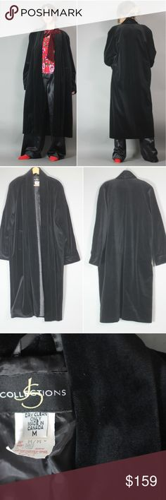 "Vintage 80s 90s Black Velvet Open Robe Coat Ugh, so fantastic. Black cotton velvet overcoat - great easy piece - robe coat meets opera coat so it can go casual or dressy quite nicely. tag size M but I think it can def fit various sizes s-l depending on desired fit, body type etc. lined. no closures - open fit. It's fairly lightweight (enough so that I can wear it in So Cal soon so if you want it, don't wait ;p) length 48"" shown on 5'8"" size 4. great vintage condition gothic minimalist goth…"