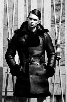 Men's thick leather coat