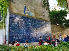I love you wall of Paris (Le mur des je t'aime) in square Jehan Rictus, Montmartre in Paris, France. - MarinaDa/REX/Shutterstock