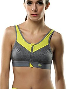 973ddb77f4 Amazon.com   Yvette Zip Front Closure Sports Bra for Large Busts-High  Impact Fitness Bra 6015