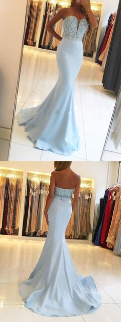 Satin Prom Dresses, Sweet Heart Prom Dresses, Beading Prom Dresses Online, Mermaid Prom Dress#promnight