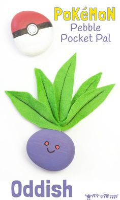 Pokemon craft for kids - a cute pocket sized Oddish craft you can actually play with! A great pebble Pokemon DIY craft for Pokemon Go fans.