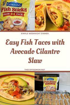 Weeknight fish tacos with avocado and cilantro slaw #fishtacos #20minutemeals #familydinnerideas
