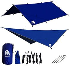 CHILL GORILLA 12' HAMMOCK RAIN FLY TENT TARP Waterproof Camping Shelter. Essential Survival Gear. Stakes Included.Lightweight. Easy to setup. Made from DIAMOND RIPSTOP Nylon. 12' x 12'. BLUE