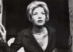 British postcard by BFI and The Screen on the Hill, for the British rerelease in 1995. Photo: publicity still for L'Avventura (Michelangelo Antonioni, 1960).  Original and versatile Monica Vitti (1931) is one of Italy's most famous actresses of the 20th century. She is most widely noted in the early 1960s for her starring roles in four classic avant-garde films directed by Michelangelo Antonioni. Later the glamorous blonde became the queen of the Commedia all'Italiana, a film genre…