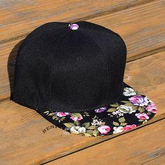 a8102673d62 Black Snapback Hat With Vintage Floral Brim Blank Cap by bespokela