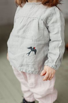 Handmade Linen Blouse With Embroidered Swallow | Lapetitealice on Etsy