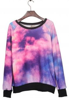 Pink Dip Dye Galaxy Print Pullover Sweatshirt - keep your head in the clouds
