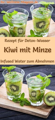 Kiwi-Minze-Wasser – Rezept für Infused Water – Detox-Wasser Kiwi Mint Water Recipe: Infused Water or Detox Water helps you lose weight, is healthy, has almost no calories, dehydrates, detoxifies and detoxifies the body weight free Detox Cleanse Water, Infused Water Detox, Infused Water Recipes, Diet Detox, Detox Soup, Juice Cleanse, Detox Tea, Kiwi, Law Carb