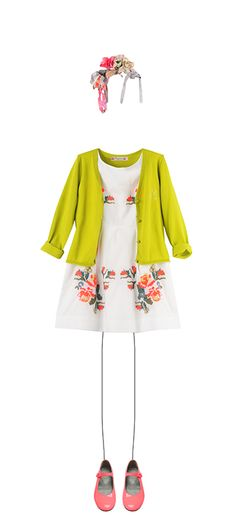 CARDIGAN MANCHES LONGUES TILLEUL Audrey dress Multicoloured Ella Mary Janes Fluro pink