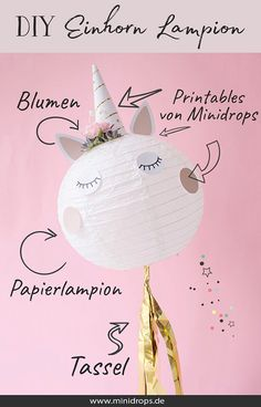 DIY unicorn lampion as a sweet decoration Diy For Kids, Crafts For Kids, Diy Crafts, Preschool Crafts, How To Make Lanterns, Quirky Home Decor, Unicorn Birthday Parties, Childrens Party, Baby Shower Parties