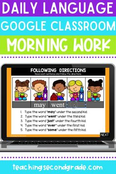 If you are looking for daily language morning work that is done for you and provides your 2nd grade students with instant feedback, you are in the right place! I took my popular morning work and made it Digital so that you can use it in the classroom or for distance learning! The first page is the menu and will help students navigate to get to the correct day for that week-so easy! #secondgradeactivities #morningwork #languageactivities #languageworksheets #secondgrade