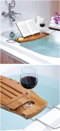 a wooden board across the bathtub for putting things
