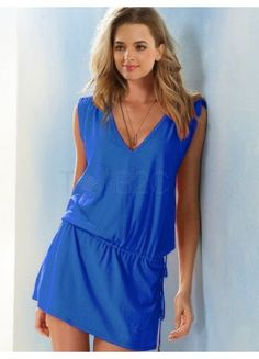 e1cd2b91f45 Casual Deep Blue Cotton V-Neck Cover Up For Woman - swimsuits - Women s  Clothing