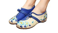 AvaCostume Women's Chinese Embroidery Peony Casual Walking Flat Shoes, Blue, 38