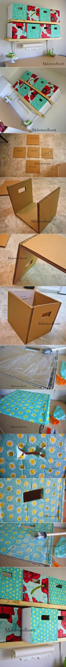 Craft Room, Part 1 (covered cardboard storage boxes) - Diy Crafts Cardboard Storage, Cardboard Furniture, Craft Room Storage, Cardboard Crafts, Diy Storage, Diy Organization, Storage Boxes, Diy Furniture, Paper Crafts