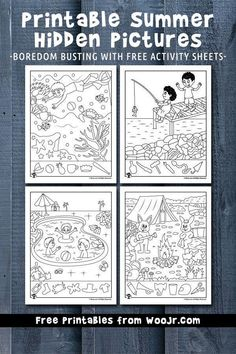 Printable Summer Hidden Pictures 9 fun and free summer hidden pictures activity pages for effective boredom busting! Activity Sheets For Kids, Printable Activities For Kids, Summer Activities For Kids, Fun Worksheets For Kids, Hidden Pictures Printables, Road Trip Activities, Outdoor Activities, Road Trip Games, Summer Fun