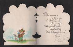 vintage die-cut fold Greeting Happy Birthday Card Bear soldier Scout rabbit Used 2