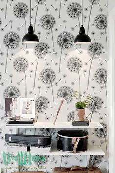 Dandelion Pattern Wallpaper  Removable Wallpaper  by WallfloraShop