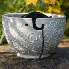 White Yarn Bowl White Yarn Holder 'The by BunnySafariPottery