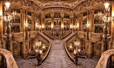 Wide shot of the Grand Staircase at the Paris Opera House Opera Garnier Paris, Paris Opera House, House Staircase, Grand Staircase, Staircases, Dream Mansion, Amazing Buildings, Luxury Homes Interior, Beautiful Architecture