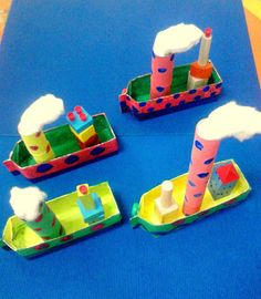 Stoomboot van een half melkpak. Cardboard Box Crafts, Cardboard Toys, Paper Crafts, Fun Arts And Crafts, Easy Crafts For Kids, Diy For Kids, Classroom Art Projects, Art Classroom, Transportation For Kids
