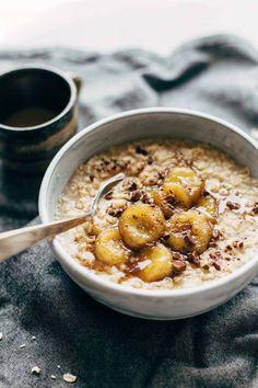 Caramelized Banana Oatmeal! Creamy oatmeal with bananas in a maple syrup/coconut oil glaze. No refined sugar! Sponsored by @QuakerOats | http://pinchofyum.com