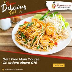 Your partner in happy food times is here along with special deals! Order online now . . . . #SafetyFirst #OnlineOrder #FreeDelivery #Thai #ThaiFoods #ThaiDishes #Cuisines #FoodPorn #Foodie #ThaiCuisine #Restaurant #Yummy #Delicious #ThaiFoodLover #FoodLovers #FoodBlogger #SeaFood #ThaiRestaurant #RoyalThai #HygienicEnvironment Best Thai Restaurant, Thai Dishes, Happy Foods, Special Deals, Japchae, Amsterdam, Seafood, Food Porn, Times