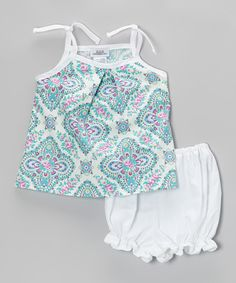 Turquoise Dimension Flower Tank & White Diaper Cover - Infant by Noa Lily #zulily #zulilyfinds