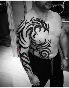 Tribal Phoenix by Tattoos by Faime Shaka Tattoo, Mark Tattoo, Tribal Sleeve Tattoos, Tribal Tattoo Designs, Pretty Tattoos, Unique Tattoos, Hippo Tattoo, Tribal Paint, Cool Half Sleeve Tattoos