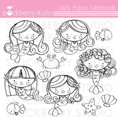 Stick Figure Mermaids Digital Stamps - cute little mermaids for your creative and craft projects.