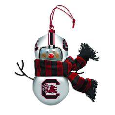 South Carolina Gamecock Blown Glass Snowman Ornament #gamecocks