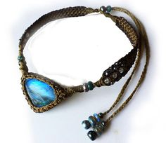 Blue Fire Labradorite Macrame Choker with Beads by ZaharaHipRoses, €130.00