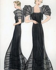 Illustration by Muriel King (1936), one of the first American fashion designers to achieve name recognition.