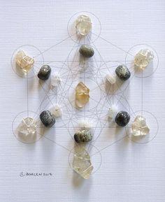 Feng Shui Crystal Healing Grid. Citrine, Moonstone, Serpentine.
