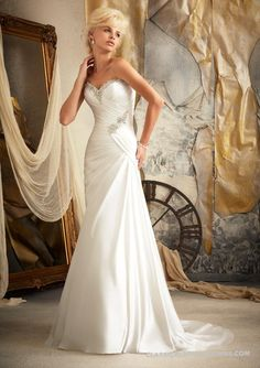 Mori Lee 1919 Satin Fit and Flare Wedding Dress