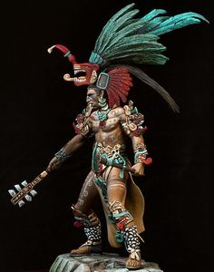 Maya Warrior looks scary yes, but not to a century Spanish Conquistador in full armor. Arte Sci Fi, Aztec Warrior, Warrior 3, Aztec Culture, Inka, Sculptures Céramiques, Aztec Art, Chicano Art, Indigenous Art