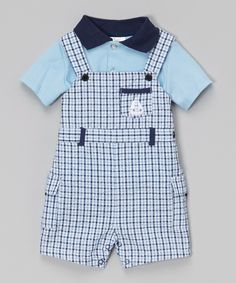 4369328c6 Look at this Baby Essentials Blue Polo & Plaid Seersucker Shortalls -Infant  on today!