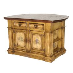 This charming kitchen island has been artfully distressed and painted by hand. Description from belleescape.com. I searched for this on bing.com/images