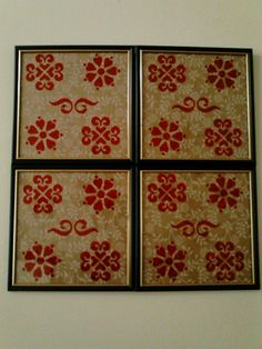 Stenciled window pane- $Tree picture frames backed w/ wrapping paper & stenciled w/ red Sharpie