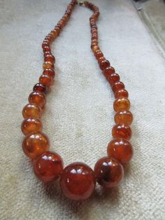 Vintage Natural Amber Beaded Necklace 30.4g from inspiredbynanny on Ruby Lane