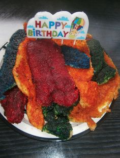 World First Rainbow-Layer Chicken Schnitzel Cake!! Exclusive to Hugzilla Blog. When a man wants a cake made of meat.